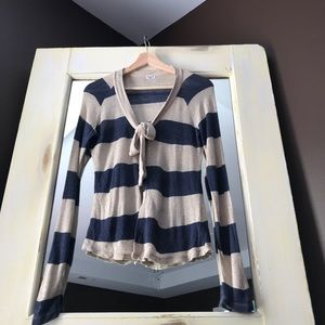 Splendid Navy and Beige Striped Sweater